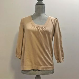 Ann Taylor silk square neck puff sleeve sweater